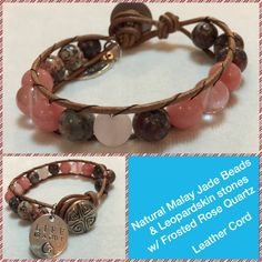 Boho Chic Leather-wrapped bracelet - Leopard skin Jasper, Rose Quartz (Frosted) and Malay  Jade Beads