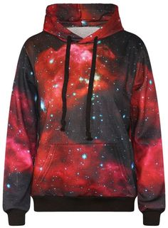 Autumn Winter Galaxy Print Punk Women Hoodies Tiger Print Pocket Coat Digital Gothic Print Hooded Pullovers