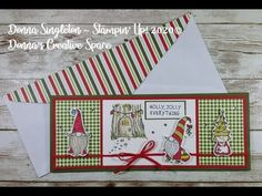 Slimline Card - Gift Card/Money Holder - Gnome for the Holidays Stampin' Up! - YouTube Gift Cards Money, Money Holders, Holiday Cards, Holiday Decor, Stampin Up Cards, Gnomes, Paper Crafts, Holidays, Space