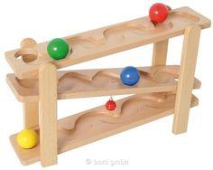 Bartl, Rollbahn mit Glocke, Mit vier großen Holzkugeln Durchmesser 4,5 cm Hochwertige Ausführung aus Buche | 104725 / EAN:04711155466233