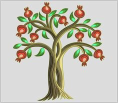 Pomegranate tree Design for embroidery by Polskyembroidery