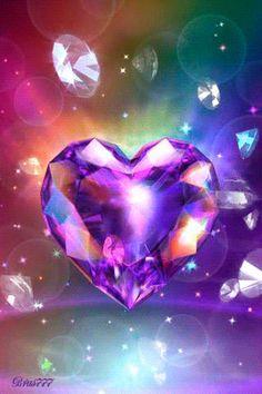 Rainbow heart gif   Holographic   Diamonds   Digital Art