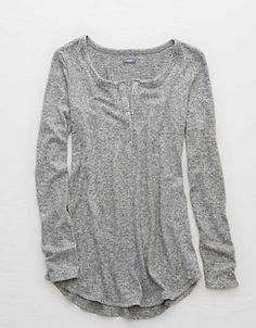 Aerie Henley Tunic, Medium Heather   Aerie for American Eagle