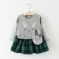 Cute Rabbit Grid Pattern Girls Long Sleeve Dress with Bag For 6M-36M On Sale.  Newchic 85261ce10