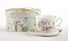 Gift Boxed Tea Cup (Teacup) & Saucer - Flower Patch - Roses & Teacups