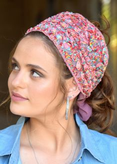 """🌸🌼🌸ONE TIE HEADBANDֱֱ!! Stately Colorful Lace flowers handmade headband fashionable and so comfortable. This """"Mitpachat"""" is worn for show some hair. #headscarf #Inspire #HeadwrapsStyle #Turban #summerstyle #beautiful #beauty #fashion #style #love #jew #jewish #judaic #judaica #judaism #hebrew #hebrewlanguge #ashkenazi #religion #religious #israel #israeli #tichel #tichels #mitpachat #headcovering #modesty #beautiful #jewishwomen #mitpachatrap #haircovering Handmade Headbands, Judaism, Lace Flowers, New Pins, Turban, Head Wraps, Israel, Religion, Inspire"""