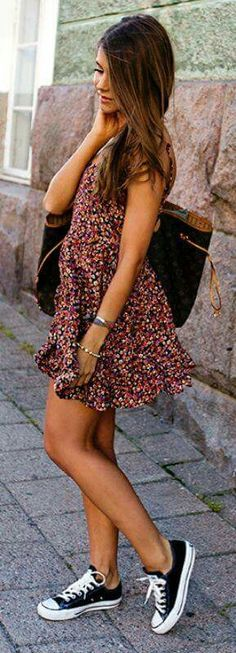 Fashion Hacks That Will Show You How To Wear Converse - Outfits With Converse - Marianna Mäkelä wears cute floral dress with her black converse. Dress: Model's Own, Shoes: Converse. Fashion Mode, 50 Fashion, Look Fashion, Runway Fashion, Fashion Outfits, Fashion Tips, Fashion Hacks, Fashion Lookbook, Fashion Fall