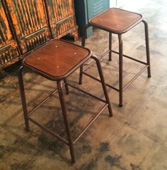 These gorgeous 1970's French Industrial Stools features a wide comfy square seat, complete with footrest. The wood has been resurfaced to a lovely finish, and has original brown paint on the tubular metal base. This is perfect for a desk, work table, side table, for a comfortable way to enjoy a drink with friends or guests!  Industrielle Attitude 4763 Eagle Rock Blvd. Los Angeles, CA 90041 323-255-5124