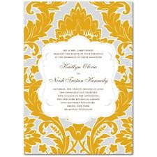 Striped Damask Vintage Wedding Invitations