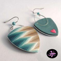 http://jhsperky.cz/by my chevronello technique by Jana Honnerova, Polymer clay earrings