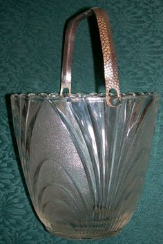 30.00  Clear Glass Ice Bucket with Metal Handle