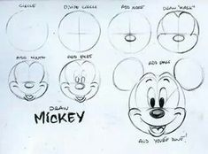 """Today in 1928 Mickey Mouse made his official debut in """"Steamboat Willie."""" To celebrate his birthday, learn to draw Mickey with these handy dandy """"how to"""" notes I. Mickey Mouse Drawings, Mickey Mouse Head, Disney Mickey Mouse, Mickey Mouse Drawing Easy, Mickey Mouse Sketch, Mickey Mouse Cartoon, Easy Disney Drawings, Disney Sketches, Easy Drawings"""