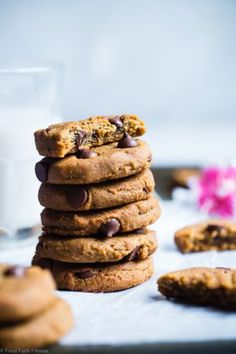 Vegan Peanut Butter Chocolate Chip Cookies - A secret ingredient makes these SO chewy! Gluten/grain free & made with no nasties! Cookie Recipes, Snack Recipes, Dessert Recipes, Snacks, Vegan Desserts, Vegan Peanut Butter, Chocolate Peanut Butter, Chickpea Chocolate Chip Cookies, Chocolate Chips
