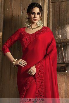 Red Silk Designer Saree with 3 D Flower Dress Indian Style, Indian Dresses, Indian Outfits, Indian Clothes, Red Saree, Saree Look, Maroon Saree, Bollywood Saree, Bollywood Fashion