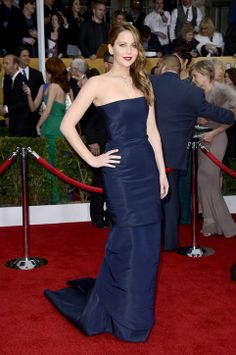 Jennifer Lawrence in Dior couture at the SAGs--in one of the top colors of the night!