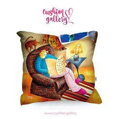 Cushion with text: Reading gives us someplace to go when we have to stay where we are.