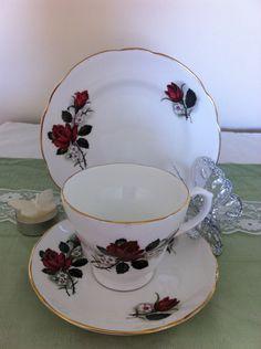 Vintage Rose Teacup, Saucer and Teaplate, Vintage China Roses, Floral Fine Bone China Trio by VintageShepherdess on Etsy