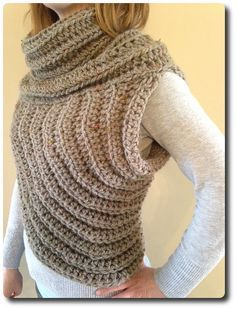 Cross-Body Cowl PATTERN - Instructions for sizes S/M (One Size Fits Most) and L/XL Skill level: Easy (Knowledge of sc, hdc, increasing, and Crochet Scarves, Crochet Shawl, Crochet Clothes, Knit Crochet, Crochet Vests, Knitting Patterns, Crochet Patterns, Yarn Sizes, Vest Pattern