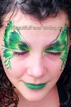 Green butterfly face paint created with Tag green leaf split. Perfect for St. Patrick's Day.