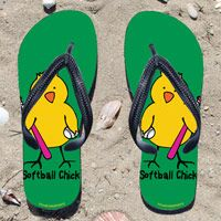 Softball Chick on Green Flip Flops - Kick back after a softball game with these great flip flops! Fun and functional flip flops for all softball players and fans.