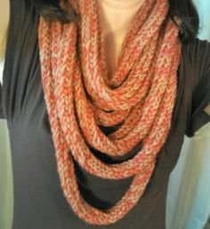 Great project to keep young hands busy this summer - spool knit infinity scarf - Just keep knitting!!