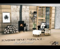 3t4 Aurora Skies Stovepipe Steve's Fireplace + Stack of Firewood - Sims 4…