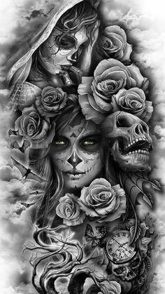 covering tattoo for men, covering tattoo models, realistic covering tattoo, realist tattoo tattoo ideas for men Skull Girl Tattoo, Skull Sleeve Tattoos, Skull Tattoo Design, Best Sleeve Tattoos, Tattoo Sleeve Designs, Tattoo Designs Men, Mens Neck Tattoos, Sleeve Tattoos For Men, Realistic Tattoo Sleeve
