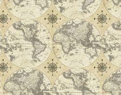 map fabric etsy