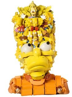 Freya Jobbins;  the Australian artist makes portraits assembled from discarded toys and plastic parts.
