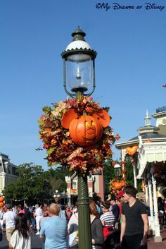 Celebrating Fall at Walt Disney World! This picture is of a Main Street, U.S.A. Street Lamp.