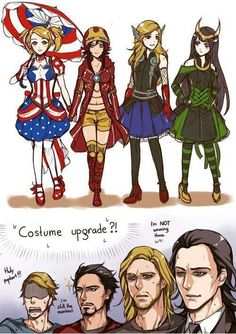 Costume upgrade! loki/thor/captain america/iron man
