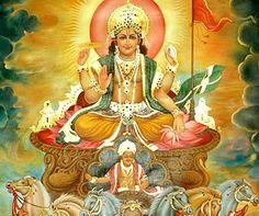O panteão hindu é repleto de figuras mitológicas, deuses e heróis. Uma divindade de menor relevância, mas bastante constante nos mitos é Súrya, o deus sol, que cruza o céu em sua carruagem puxada por sete cavalos, guiada por Aruna. Súrya significa luz suprema, mas designa o próprio sol. Aruna é o nome da cor do céu pela manhã, como o brilho avermelhado que precede o nascer do sol a cada amanhecer.