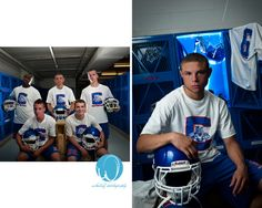 Cool effect in the locker room for this football player's high school senior portraits