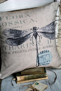 Dragonfly Pillow Cover Cotton and Burlap