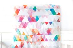 Crib Sheet Confetti Triangles Fitted Crib Sheet by woolfwithme