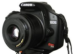 A reverse-mounted Canon 50 mm lens used for macro photography