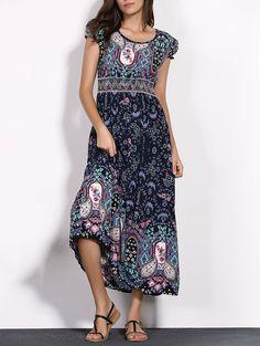 Simple Style Women's Ethnic Print Short Sleeve Scoop Neck Dress #Blue #Bohemian_Dresses #Print_Dresses