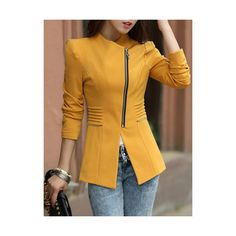 Stylish V Neck Long Sleeve Solid Color Zippered Slimming Women s Blazer ($20) found on Polyvore featuring outerwear, jackets, blazers, yellow, slim fit blazer, slim jacket, v neck jacket, long sleeve jacket and zip blazer