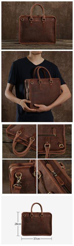 Genuine Leather Mens Briefcase, Handmade Leather Business Bag, Laptop Bag GLT002