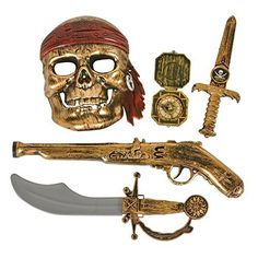 Live the pirate life with this 5 piece Halloween costume set!...