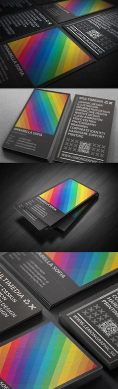 Rainbow Typography business card design