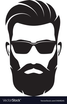 Bearded men face hipster character vector image on VectorStock Beard Silhouette, Fashion Silhouette, Beard Logo, Photo Logo, Male Face, Beard Styles, Bearded Men, Barber Shop, Logo Design