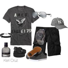 Men's Casual by keri-cruz on Polyvore featuring Ray-Ban, American Eagle Outfitters, Old Navy, Osiris, Bottega Veneta and Bernard James
