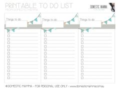 FREE Printable To Do list from Domestic Mamma!