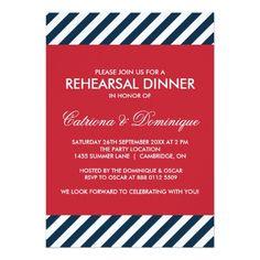 Nautical Wedding Rehearsal Blue Nautical Stripes Rehearsal Dinner Invitation