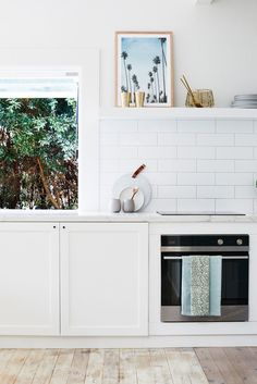 — DREAMING OF HOME 🌴✨ white washed floors , subway tile + some open shelving . dreaming about our savusavu home by the sea has begun again ✨ Kitchen Shelves, Kitchen Dining, Kitchen Decor, Kitchen Cabinets, Kitchen Ideas, Dining Decor, Kitchen Colors, Cupboards, Kitchen Inspiration