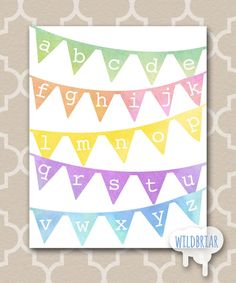 Watercolor alphabet banner, Printable Nursery Wall Art, kids room, playroom rainbow pennant abcs; INSTANT DOWNLOAD!!