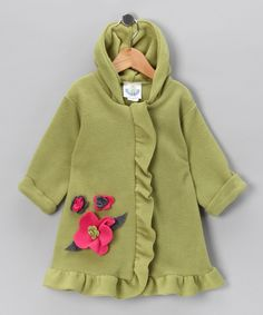 Green Flower Swing Coat - Toddler & Girls #zulily #fall