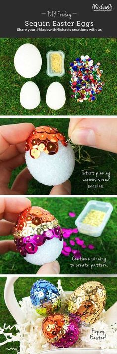 Sparkly sequin Easter eggs - egg decorating - glitter eggs - unique Easter eggs