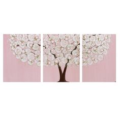 Baby Girl Nursery Wall Art - Large Tree Painting - Textured Pink and Green Canvas Triptych 50X20 - MADE TO ORDER